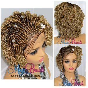 blond wig, braided wig, bob cut short